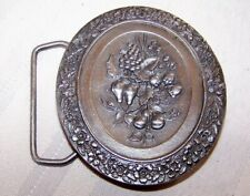 Vintage 1974 Pewter Bergamont Fruit Wine Floral Belt Buckle