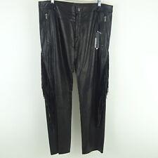 Kim Kardashian West VERSACE Black Leather w/ Fringe Pants Size 52 NWT $3925