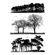 Crafty Individuals Rubber Stamps - Trees Galore - Silhouettes, Countryside