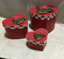 Valentine Ward Nesting Boxes W/Tops - Set Of 3 Red With Rose 🌹 Shaped Lids
