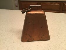 "Vintage Metal Cow Animal Bell Working Condition Copper/ Brass/ Bronze 4.25"" Tall"