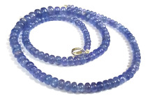 """Handmade Tanzanite Stone 5-8mm Smooth Rondelle Beads Beaded Jewelry 18"""" Necklace"""