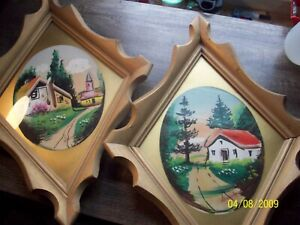 Vintage Country Folk Art signed paintings