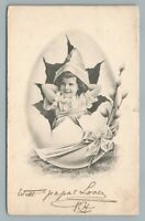 Girl Bursting Out of Easter Egg—Antique Postcard Willow Branch UDB London 1904