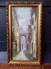 Genuine 1900s Oil Painting,Post Impressionist Cityscape,Old Ornate Gilt Frame
