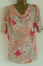 NEW Ex M&S 10 12 Cowl Neck Floral Pink White Beige Top Blouse Summer Casual Day