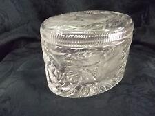 Kristallglas Glas Deckeldose Bonboniere oval 11x15 cm Rosendekor Rose Deko 1304