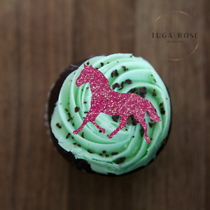 Horse Glitter Cup Cake Toppers - Horsey Birthday - Equestrian - Rider Decoration