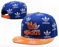 Embroidered Adidas Trefoil Snapback Flat Cap Blue & Orange: One Size Fits Most