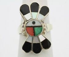 Sterling Silver .925 Turquoise Onyx MOP Bird Design Fashion Ring Sz 6 4.1g G423