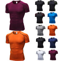 Men's Quick Dry Elastic Short Sleeve T-Shirt Fitness Running Tight Sports Tops
