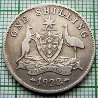 AUSTRALIA GEORGE V 1922 ONE SHILLING, SILVER