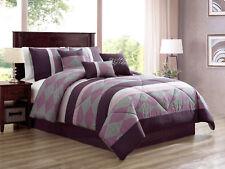 7-Pc Luca Striated Diamond Stripe Comforter Set Purple Lilac Lavender Gray Queen