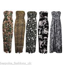 Women's Various Printed Ladies Bandeau Shirring Tube Maxi Dress Plus Sizes 8-22