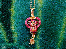 Andrew Hamilton Crawford Gold Crystal Pink Monkey Necklace