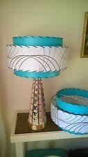 Pair Mid Century Vintage Style 3 Tier Fiberglass Lamp Shade Modern Atomic