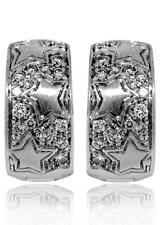 Chimento 18k White Gold Stars And Diamond Huggie Earrings