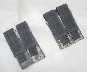 2 x New Molle Double Pistol Mag Pouch ACU Digital--Airsoft