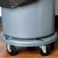 Lavex Janitorial Gray Plastic Trash Can Dolly with 5 Casters