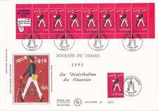 Enveloppe grand format 1er jour 1993 Journée du timbre distribution du courrier