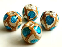 10pcs exquisite handmade Lampwork glass beads blue silver foil round 14mm