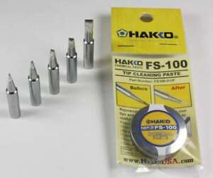 Hakko T18 Series Chisel Tips T18-D08/D12/D24/D32/S3 w/ FS-100 Tip Cleaning Paste