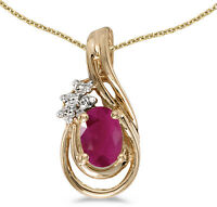 14k Yellow Gold Oval Ruby And Diamond Teardrop Pendant (Chain NOT included)