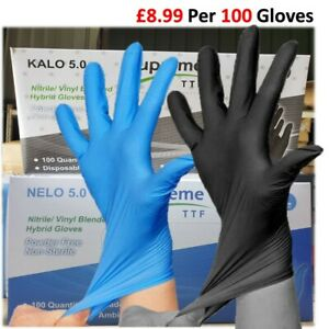 Extra Strong Disposable Blended Nitrile Gloves Latex & Powder Free Mechanic