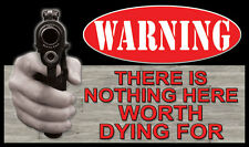 """Warning There is Nothing Here Worth Dying For Gun Firearm 30"""" Door Welcome Mat"""