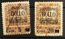 2 marche da bollo Fiume 1922. 5 cent 20 cent vecchio valore obliterato #lt92