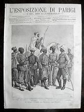 stampa antica old print UNIFORME TURCHIA INDIA cipahi SENEGAL MADACASCAR 1889