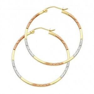 14k Tri Color Gold Hoop Fancy Earrings Diamond Cut Polished Hinged Aracadas Oro
