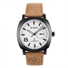 New Men's Military Army Quartz Wrist Watch CURREN Men's Leather Strap Sport HOT