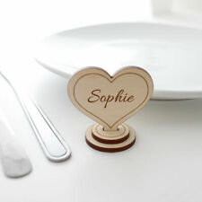 Wedding Heart Table Name Number Place Setting - PERSONALISED Small Wooden Stands