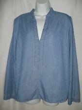 Tommy Hilfiger Women's Denim Colored Long Sleeve Shirt Large