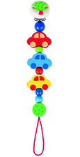 Heimess Cars Clip On Dummy Soother Pacifier Chain Wooden Baby Child Toy BNIP
