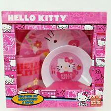 Hello Kitty Girls Pink Mealtime Dish Set 3pc Polka Dot Sanrio BPA Free 3+ Zak