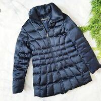 Andrew Marc Navy Blue Longline Down Filled Winter Puffer Coat Jacket S 4 6