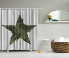 Americana Military Star Digital Shower Curtain Country Camo Camouflag Bath Decor