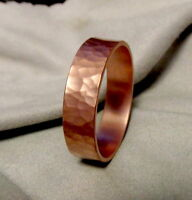 Wide ring, wide hammered Copper ring made from thick Copper, Handmade