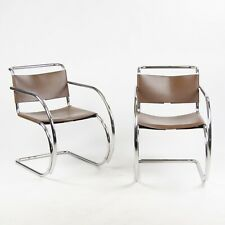 Knoll International Mies Van Der Rohe MR20 Armchairs Bauhaus Eames Brown Leather
