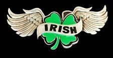 Celtic Irish 4 Four Leaf Clover Wings Enamel Belt Buckle Boucle De Ceinture