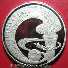 1988 TURKEY 10000 LIRA SILVER PROOF OLYMPIC TORCH KOREA SEOUL OLYMPICS CROWN