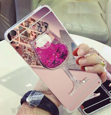 Luxury Mirror Bling Flowing Liquid Glitter Red Wine Glass Soft Phone Case Cover