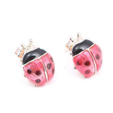 Small Red & Black Ladybirds Animal Design Stud Pierced Ears Earrings Jewellery