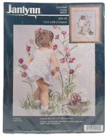 1995 NIP Janlynn Counted Cross Stitch Kit Girl With Cosmos 12x16 Picture 8481