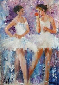 YARY DLUHOS ORIGINAL ART OIL PAINTING Ballet Dancer Music Prima Ballerina Figure