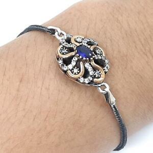 Deco 1.00ctw Sapphire & Diamond Cut White Sapphire 14K Yellow Gold 925 Bracelet