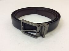 Calvin Klein Men's Smooth Leather Reversible Feather Edge Belt, Black/Brown, 40