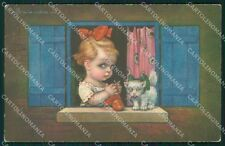 Colombo Art Deco Girl and Cat ABRADED serie 2007 postcard cartolina QT6498